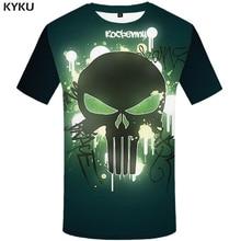 KYKU Skull Tshirt Men Punisher T-shirt Green Cool 3d Print T Shirt Funny Shirts Anime Clothes Punk Rock Gothic Mens Clothing