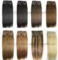 26 colores disponibles Envío Gratis GRUESO Cabeza Llena de seda suave remy Brasileña Del Pelo Humano Clips En/sobre Extensiones de 12 unids Conjunto 300g