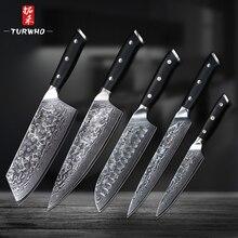 TURWHO 5 шт. набор кухонных ножей 67 слоев японской дамасской нержавеющей стали Santoku Кливер шеф-повара для очистки овощей ножи G10 Ручка