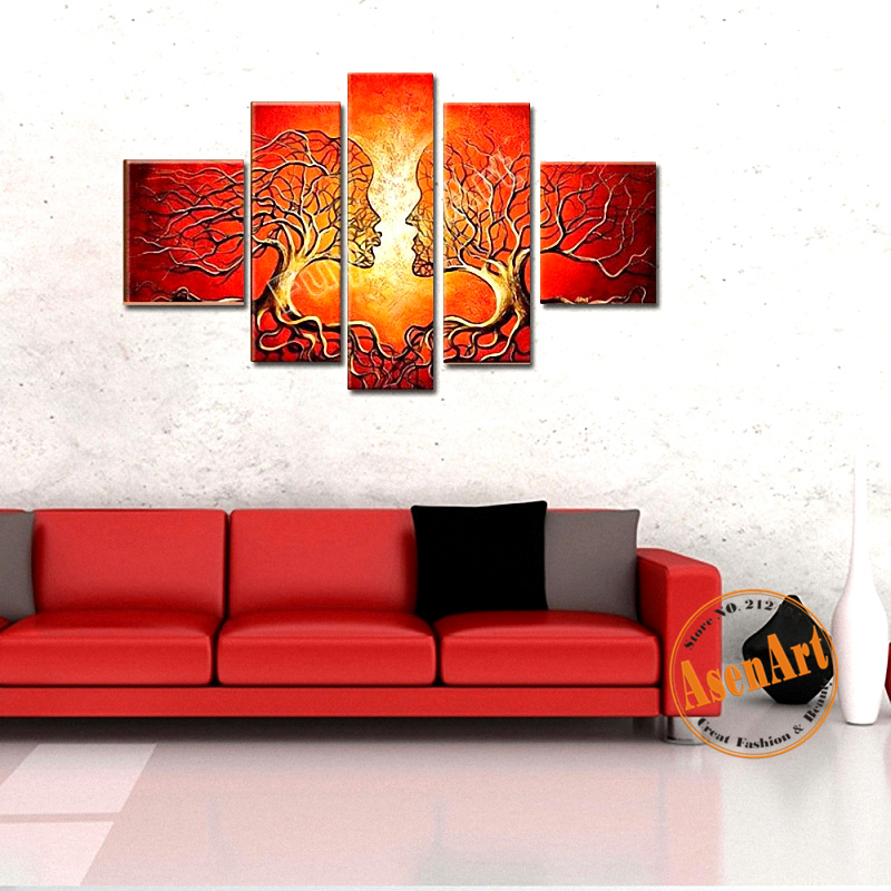Hand Painted Oil Painting on Canvas Abstract Women Red Tree Painting 5pcs Wall Art Pictures for Living Room Home Decor No Frame