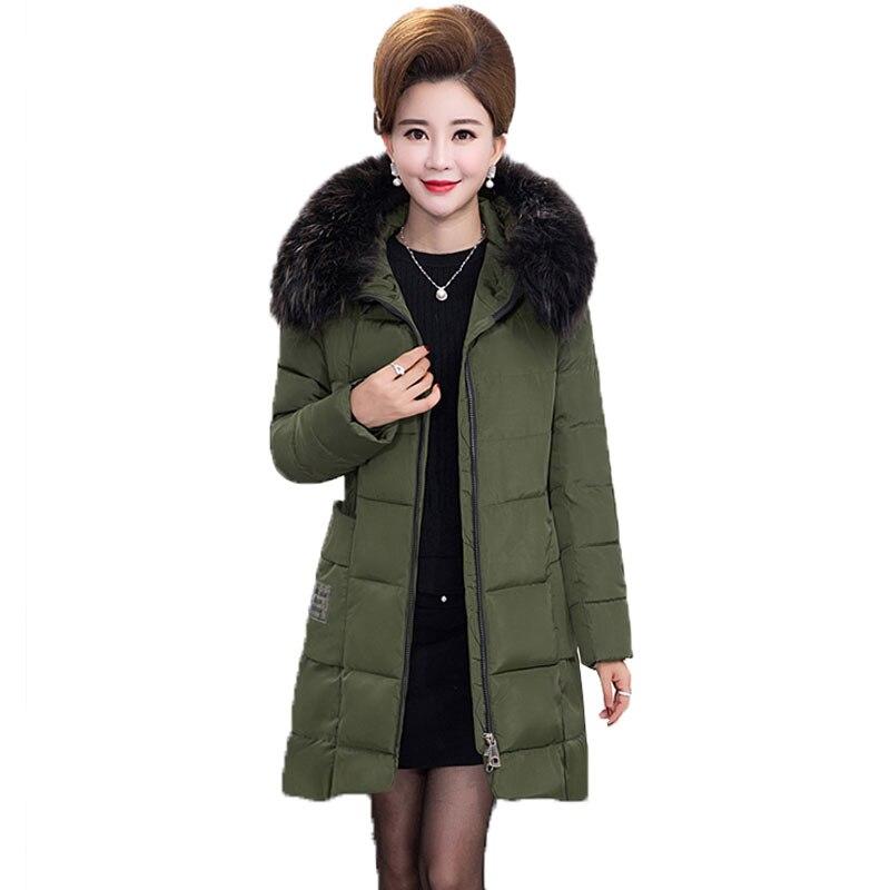 manteau femme hiver plus size middle aged winter down cotton jacket women fur collar coat 2017