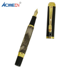 ACMECN Luxury Fountain Pen Grey 3D Pattern Chinese Dragon Golden Clip With F Nib for Antique Gift Writing Retro ink Convert Pens