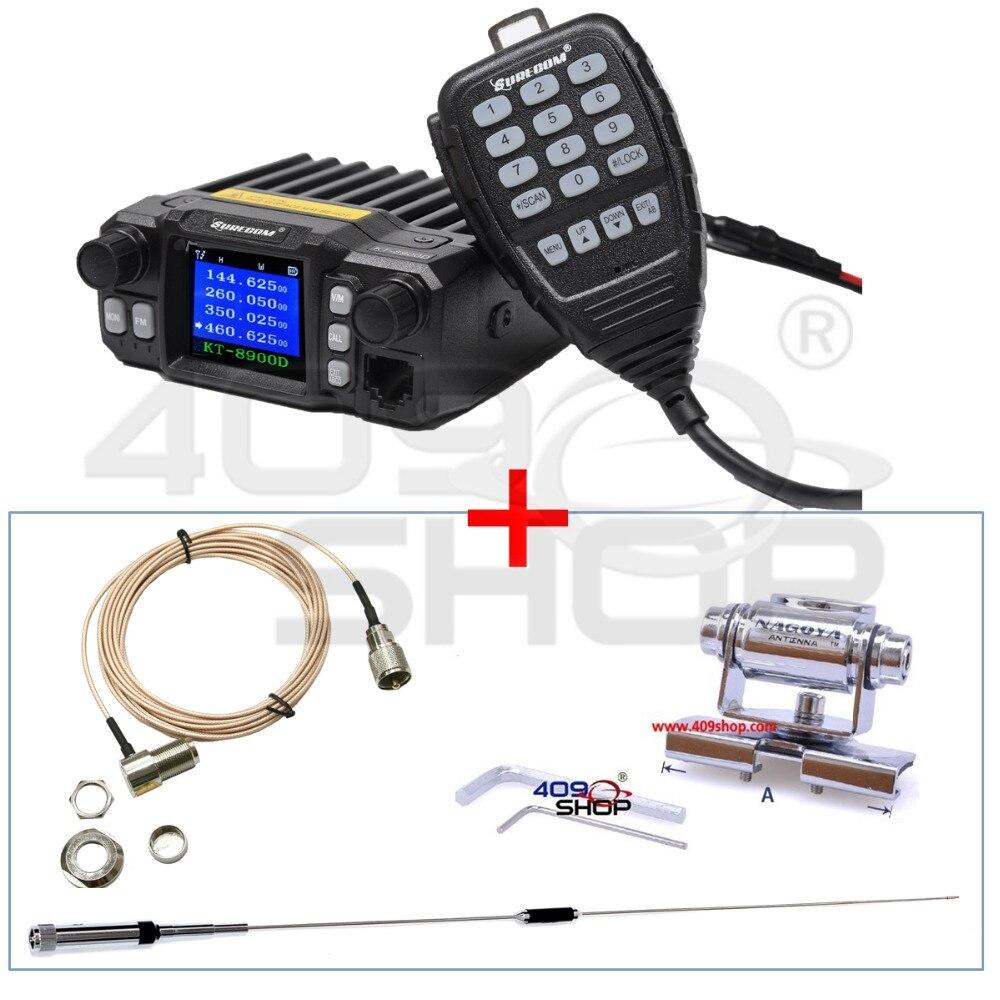 409SHOP SURECOM KT-8900DMINI MOBIELE RADIO + ANTENNE + MOBIELE STEUN + verleng kabel