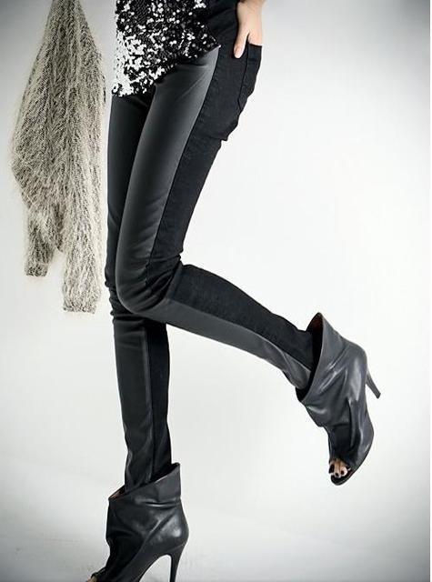 Female Winter Plus Size Plus Velvet Pu Stretch Waterproof Thick Slim Leggings Trousers Lady Autumn Oversized Warm Pencil Pantspencil pantspants plustrousers ladies