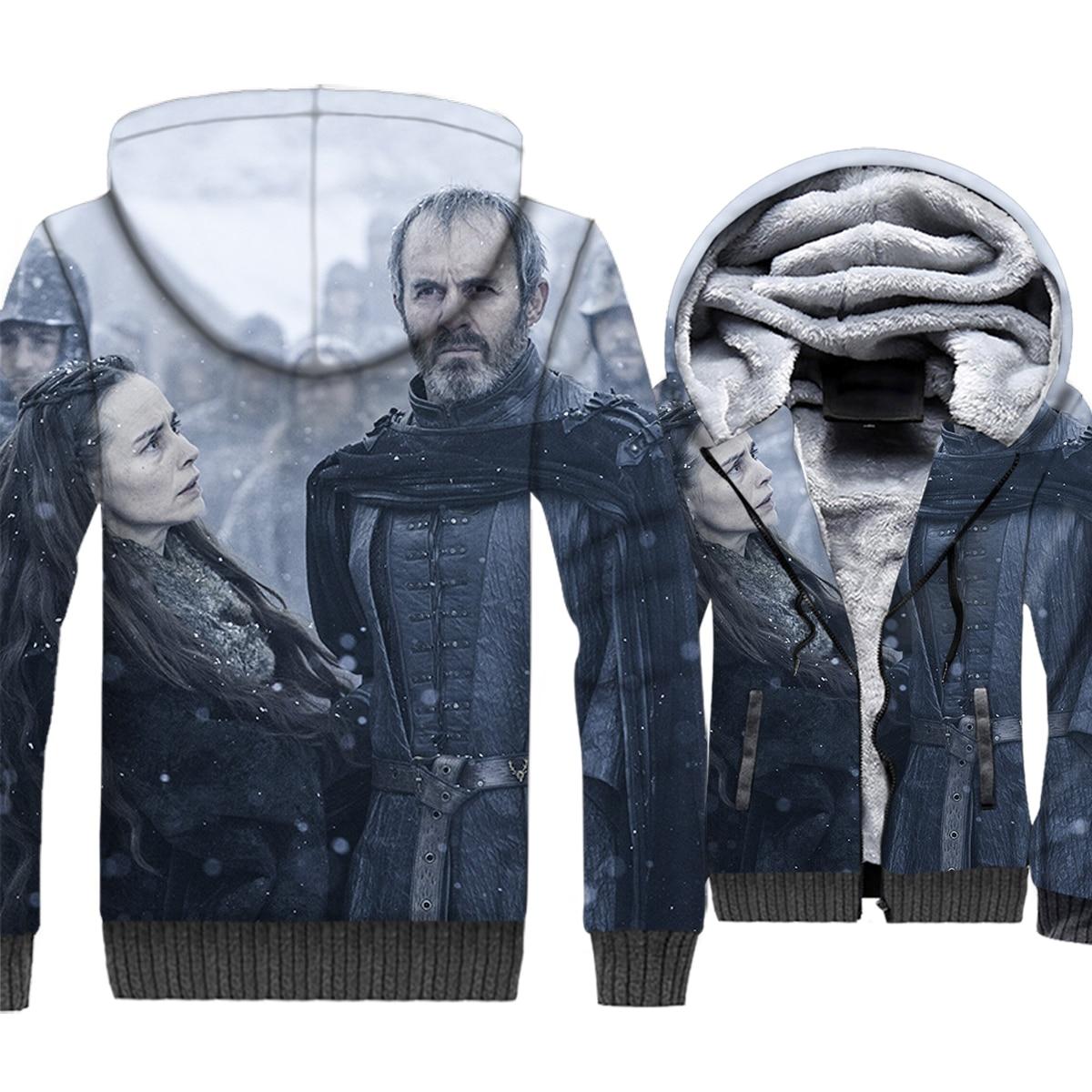 Game of Thrones 3D Print Hoodie Men Dragon Hooded Sweatshirt Winter Thick Fleece Warm Zip up Coat Hipster Jacket Brand Clothing in Hoodies amp Sweatshirts from Men 39 s Clothing