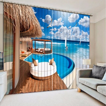 3D Curtains Sea blue sky and white clouds Blackout Window Curtain Living room European style Curtains