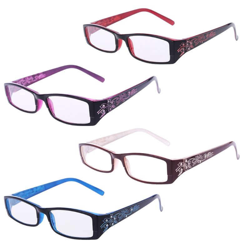 Women Fashion Imitation Diamond Flower Print Resin Reading Glasses 4 Colors Presbyopic +1.0~+4.0