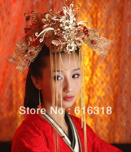 Vintage Chinese Traditional Wedding Jewelry Adorn Hair Accessories Queen Hanfu Fine Pageant Phoneix Coronet Tiaras Free Shipping 03 red gold bride wedding hair tiaras ancient chinese empress hat bride hair piece