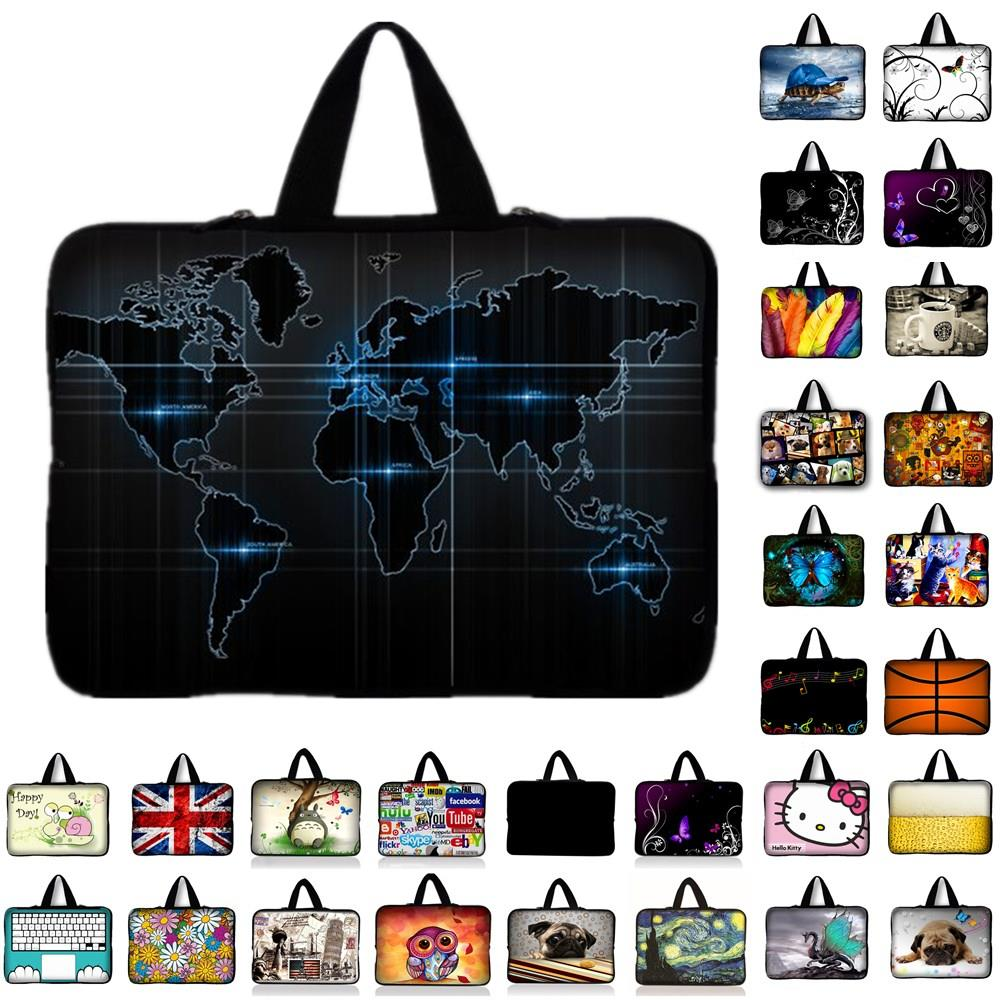 "world map notebook laptop Sleeve Case for 9.7 inch 10'' 11.6"" 13'' 13.3"" 14"" 14.4"" 15'' 15.6"" 17"" 17.3'' laptop tablet bag-in Laptop Bags & Cases from Computer & Office"