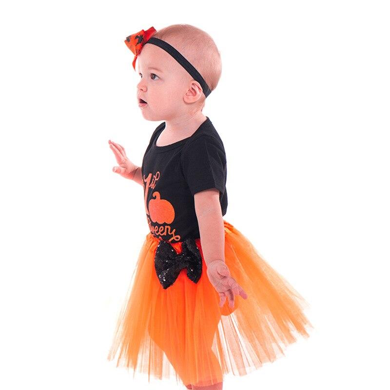 Newborn Girls Baby Kids Christmas Pumpkin Skirt Mini Dress Clothes Sets