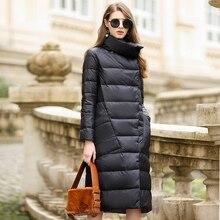 Пуховик на утином пуху, женская зимняя верхняя одежда, пальто, женский длинный Повседневный светильник, ультра тонкий теплый пуховик, брендовая парка