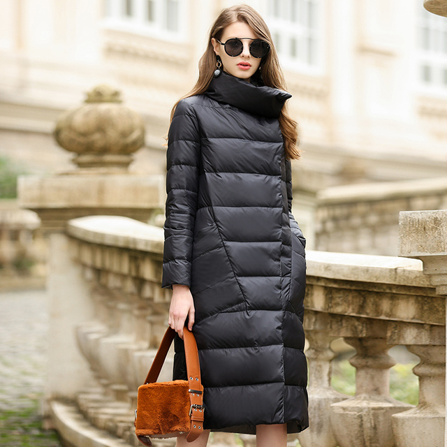 a7c131724 US $47.26 57% OFF|Duck Down Jacket Women Winter 2018 Outerwear Coats Female  Long Casual Light ultra thin Warm Down puffer jacket Parka branded-in Down  ...