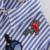 Caráter de Coração Bordado Azul Listrada Manga Longa Blusa Mulheres Camisa Ocasional Coreano Turn Down Blusas 2016 Verão Femininas