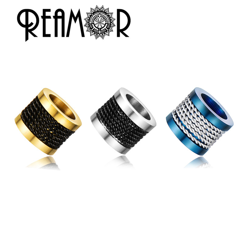 REAMOR High Polished Gold-Plating Stainless Steel Wire Inlay Beads 6/8mm Big Hole Beads For DIY Leather Bracelet Jewelry Making(China)