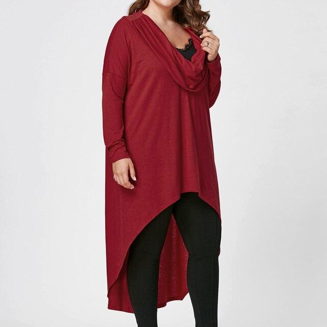 Plus Size Irregular hem Long Sleeves Casual Cotton Dresses Ladies Womens Autumn Lagenlook Solid Color Tunic Dresses 4