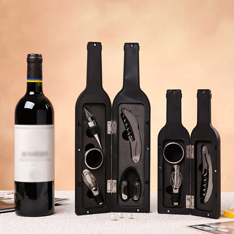 3Pcs/5Pcs Wine Bottle Corkscrew Set Tool Bottle-Shaped Holder Bottle Opener Christmas Thanksgiving Wedding Gift TB Sale ...