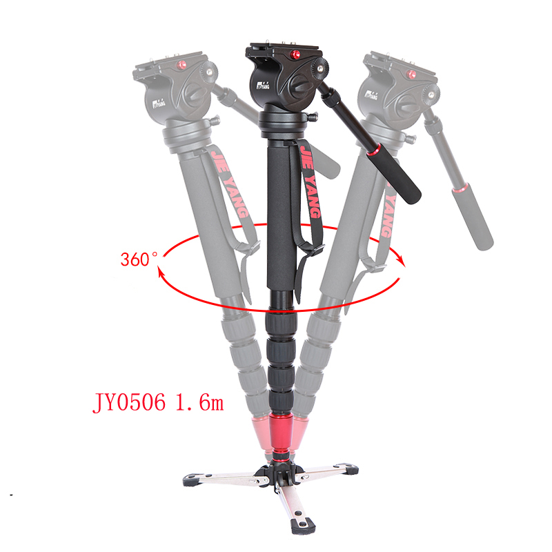 JIEYANG JY0506 JY0506B Aluminum Professional Video Monopod Tripod For Video Camera DSLR Camcorder & Panoramic Fluid Head & Bag