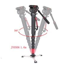 JIEYANG JY0506 JY0506B alüminyum profesyonel Video Monopod Tripod Video kamera DSLR için kamera ve panoramik sıvı kafa ve çanta