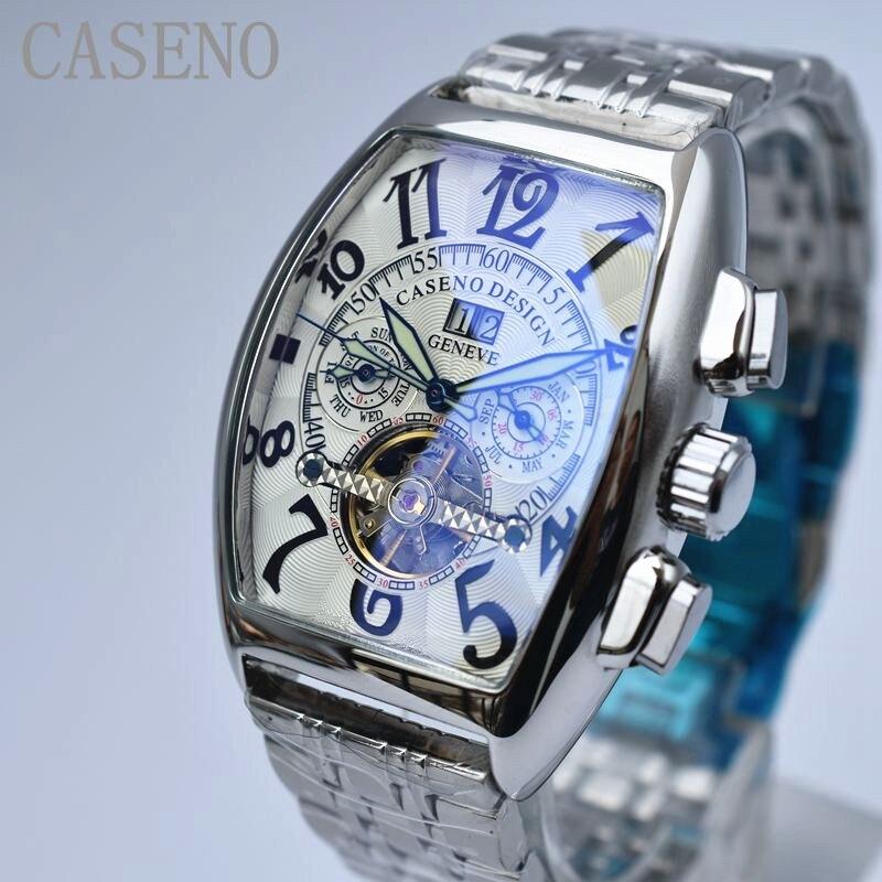 CASENO Top Merk Luxe Tourbillon Skeleton Automatische Mechanische Horloges Mens Polshorloge Militaire rvs Mannelijke Klokken-in Mechanische Horloges van Horloges op  Groep 2