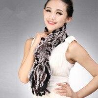 Autumn Winter Genuine Real Knitted Rex Rabbit Fur Muffler Women Fur Scarves with Tassels Neckwarmer VF0601