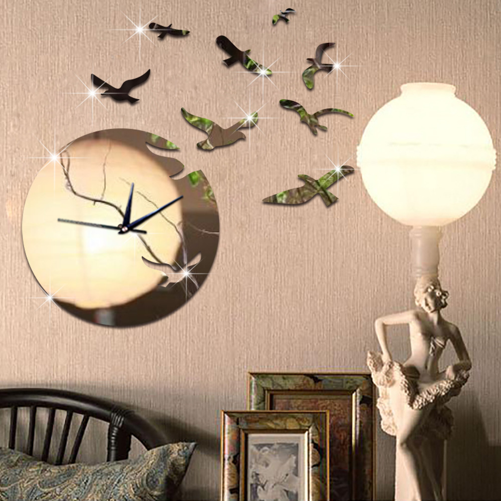 living room wall clocks. DIY Clock Bird\u0026Moon Acrylic Combination Of Decorative Clocks Living Room Wall Mirror Manufacturers Wholesale-in From Home U