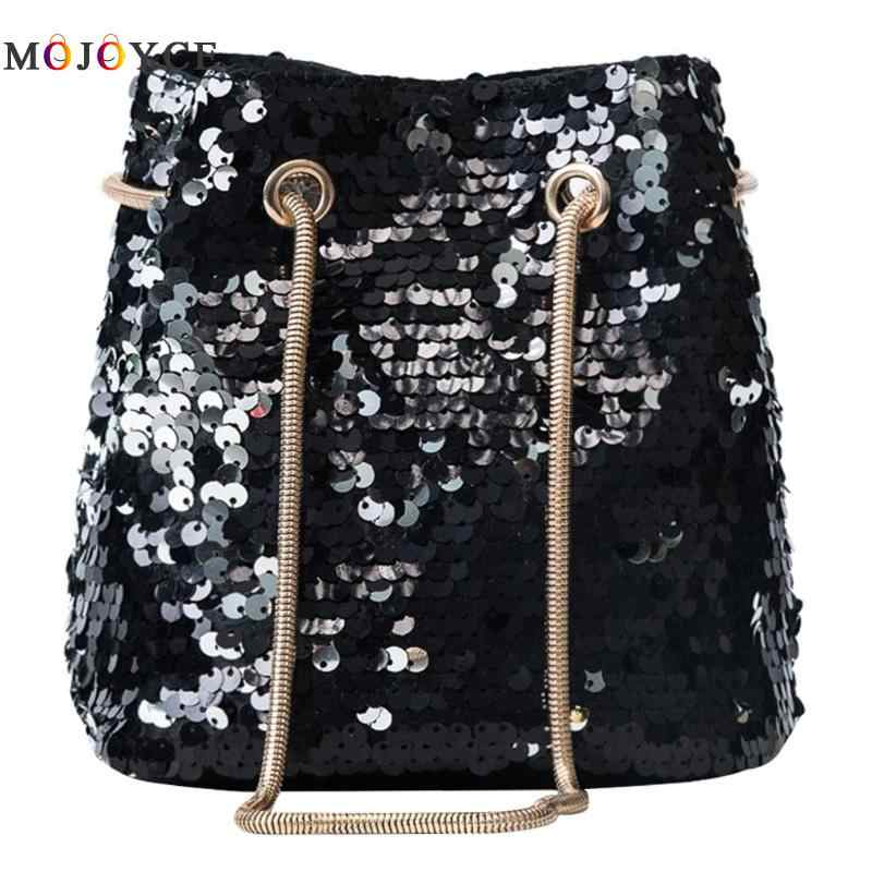 dd995be139 Bling Sequins Mini Crossbody Handbag Women Bucket Bags Girls Metal Chain  Single Women shoulder Bag