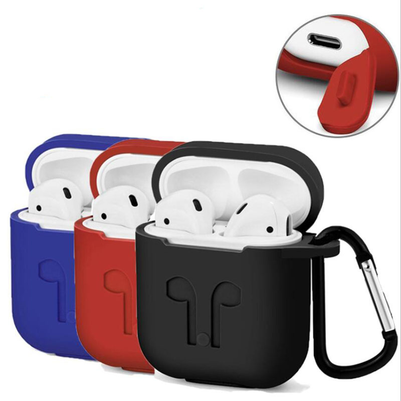Anti-losting Silicone Eerphone Pouch Store Box Protective Bag+Hook for Apple iphone X 8 7 AirPods Wireless Headphone Cover Case