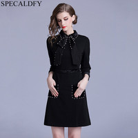 2018 Autumn Dress Winter Designer Runway Dresses 2018 Women High Quality Bow Neck Pearl Black Elegant Dress Robe Femme Habille