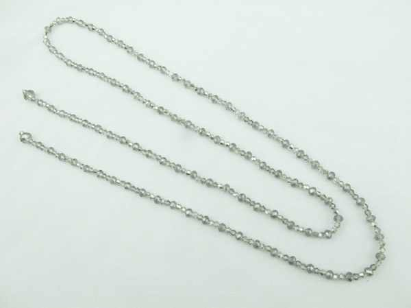 Long Necklace Crystal Beads Multi Strand 2 strands 47 inches Beaded Black and Grey