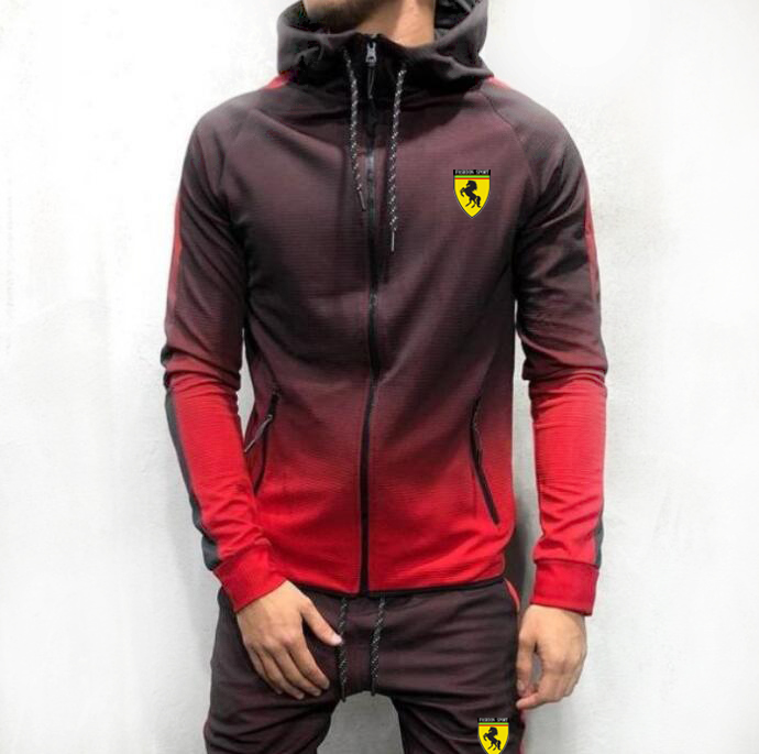 Men Gym Hoodies Jogger Casual Sweat Track  Full TrackSuit Jacket Top Bottom Sport Suit Sets Pants Trousers