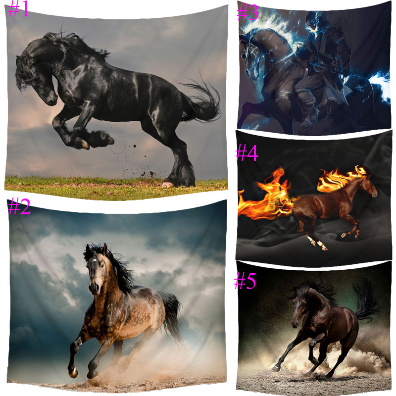 Comwarm Hippie Wild Pretty Horses Pattern Tapestry Picnic Mat Yoga Rug Polyester Wall Hanging Gobelin Bedding Home Decor Crafts