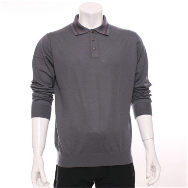 Top Grade 100%goat Cashmere Knit Button Turn-down Collar Men Boutique Smart Casual Pullover Sweater Grey 3color S-2XL