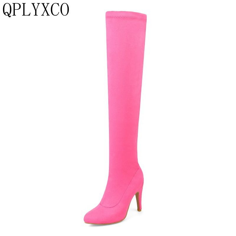 QPLYXCO New Big small Size 32-48 winter warm long Boots fashion shoes Women over the knee Boots pumps thin High heels boots k03