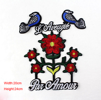10 pcs/set 20*24CM Large embroidered birds and flowers embroidery Iron-On Patches For Clothes Garment Applique DIY Accessory