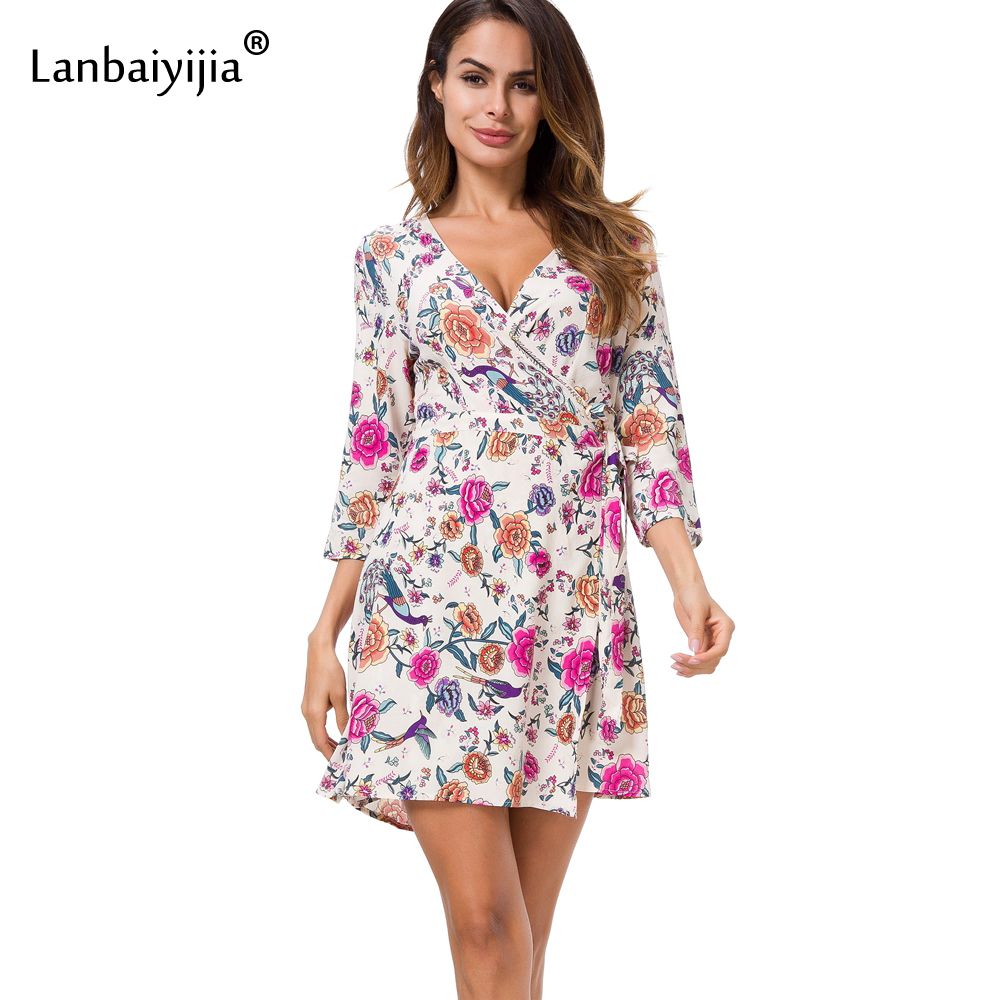 Lanbaiyijia 2018 nouvelle belle Rose fleurs robe femmes coton robe trois quart manches col en v taille ceintures tenue décontractée S M L-in Robes from Mode Femme et Accessoires    1