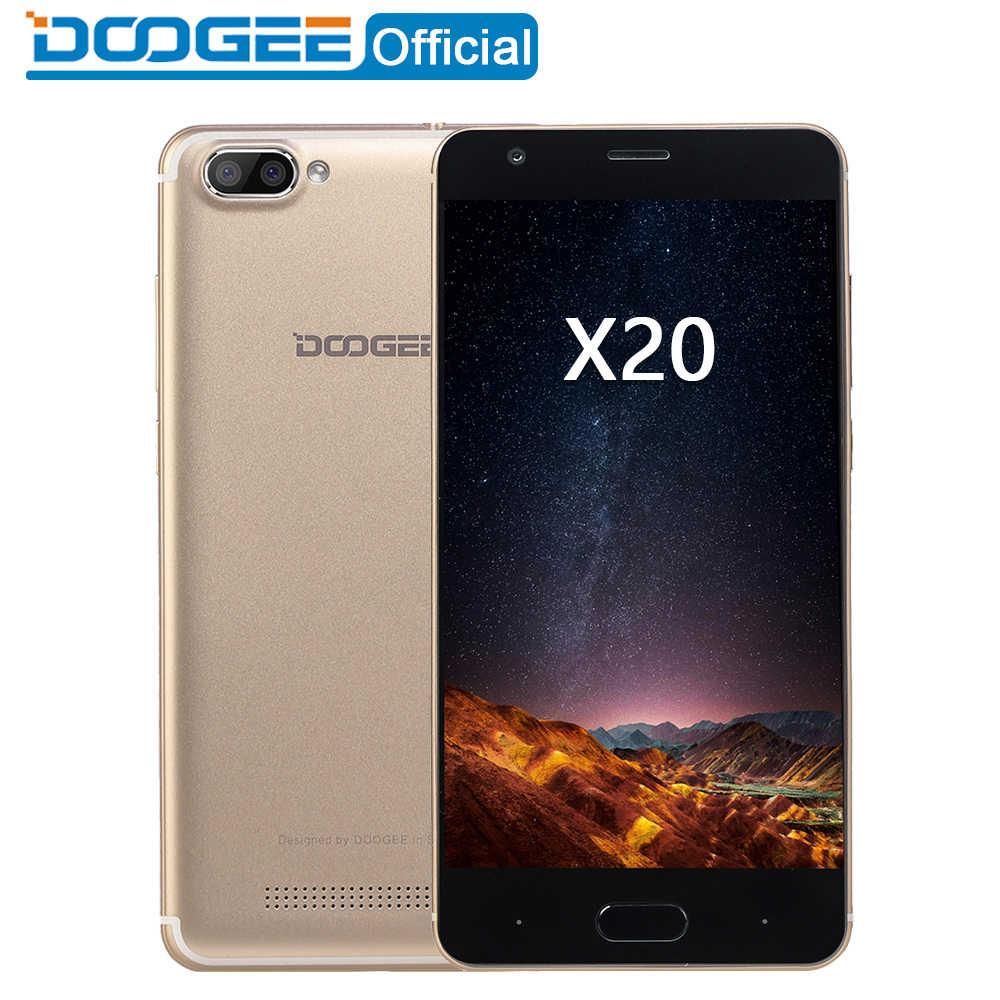 DOOGEE X20 téléphone portable MTK6580A Quad Core 1GB RAM 16GB ROM double caméra 5.0MP + 5.0MP Android 7.0 2580mAh 5.0 ''HD Smartphone WCDMA