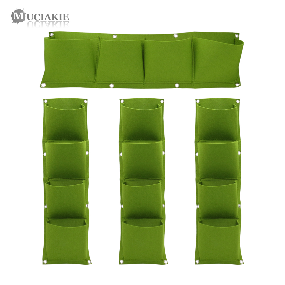 MUCIAKIE Vertical Planting Bag 4-Pocket Green Hanging Wall Garden Plant Grow Bags Home Wall Growing Bags Home Supplies