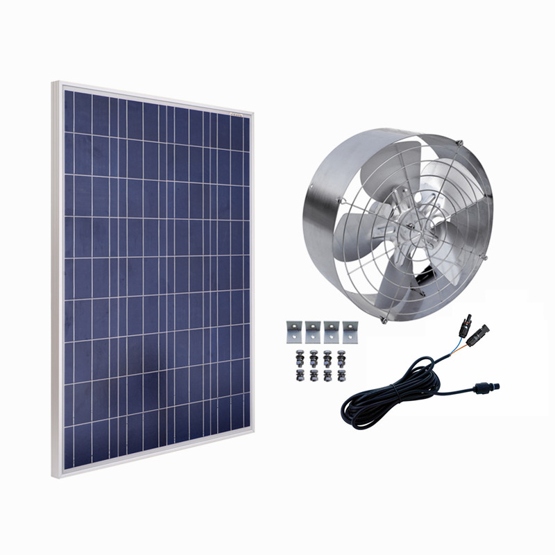 12VDC 65W 3000 CFM Solar Powered Exhaust Fan Roof Vent Ventilator & 100W Poly Solar Panel