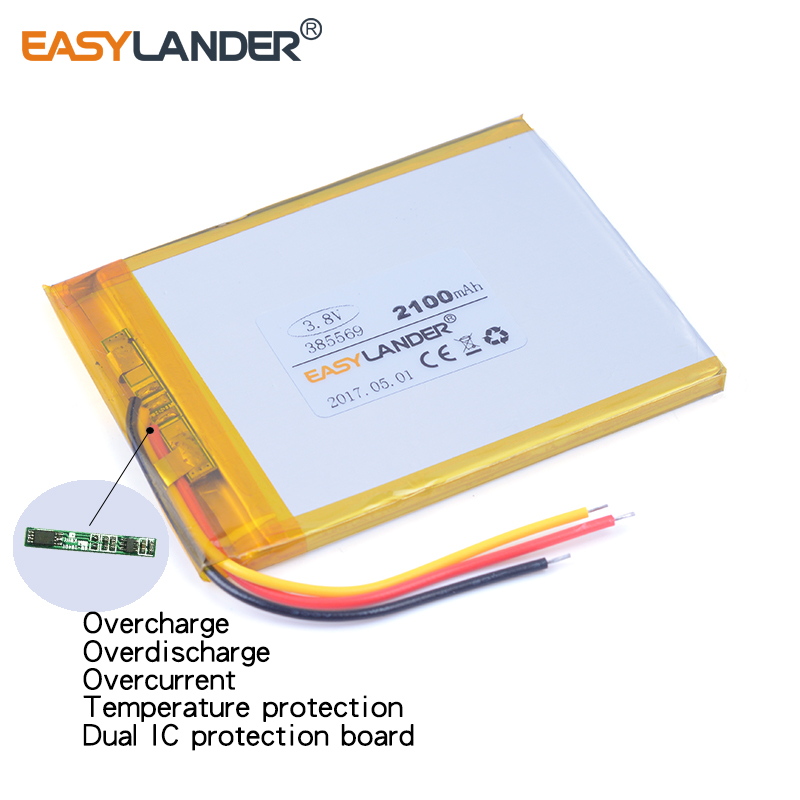 385569 3 8V 2100mAh Rechargeable li Polymer battery For font b GPS b font DVR font