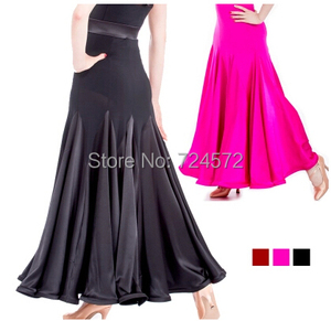Image 2 - Ballroom dance costume sexy  spandex ballroom dance long skirt  for women ballroom dance competition skirt 2kinds of colors