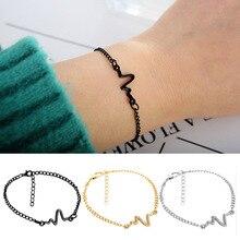 Simple Fashion Personality Bangle Chain Lightning Bracelet Heart Beat ECG Electrocardiogram  for Women Men Lovers