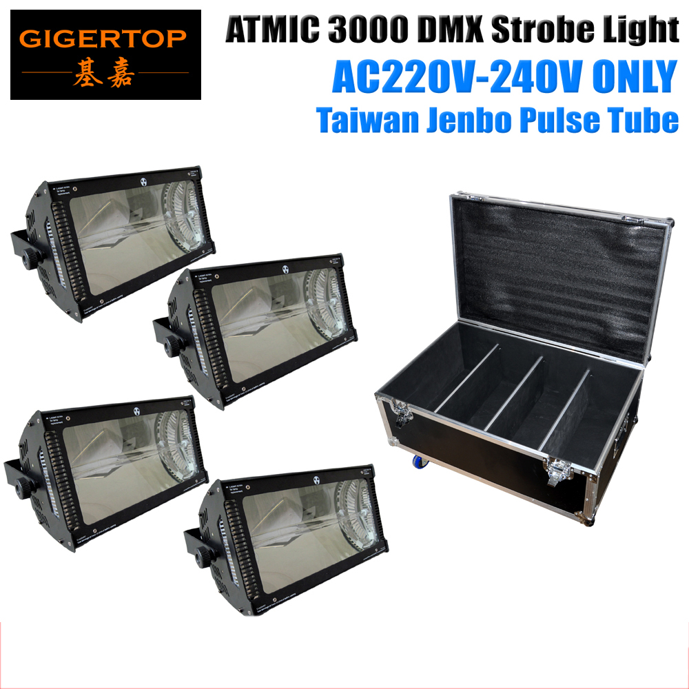 Flightcase 4in1 Packing 4XLOT 3000W Martin Strobe Light 220V-240V EU Version High Brightness Pulse Tube Led Strobe Light DMX 512