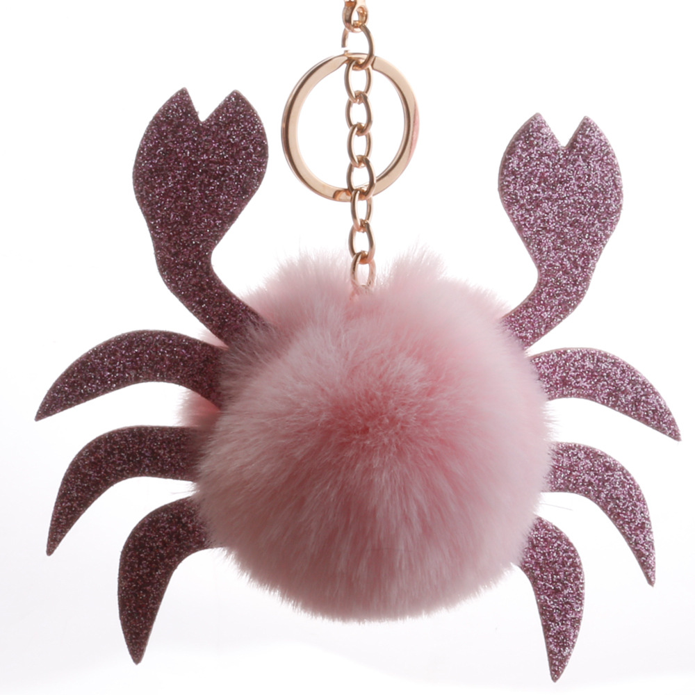 New sequin crab ball key ring pendant Pu crab shape bag hair ball pendant cross-border explosion