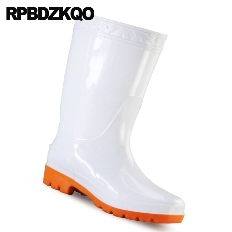 90d532dd4 ... Branco Prova Chuva Homens Bezerro Meados Sapatos Água À Barato Borracha  Size Altura Rainboots Dos Plataforma ...