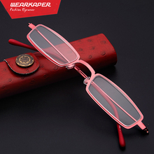 WEARKAPER Mini Designer Small Cute Readers Memory-Metal Frame Magnifying Compact Reading Glasses With Case +1.0 -4.0