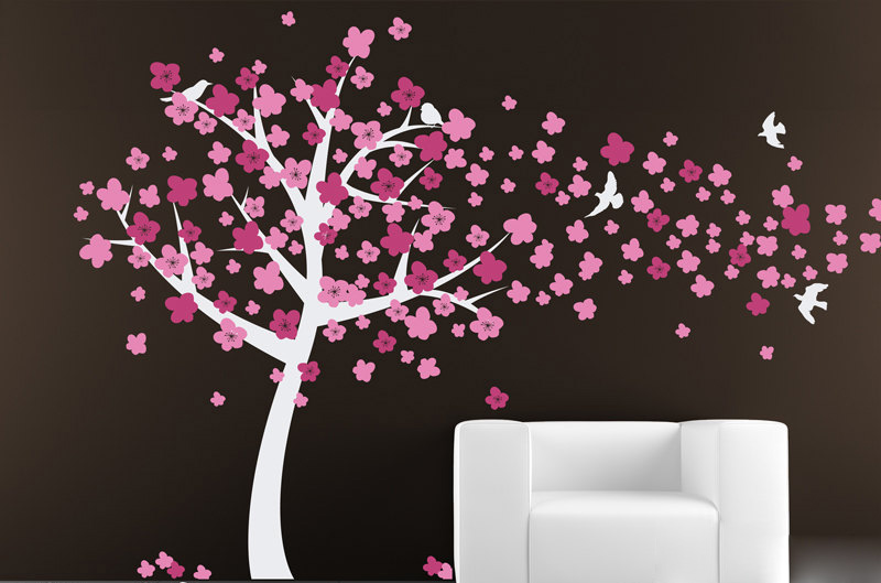 Large Wall Tree Decal With Windy Blossoms Cherry Tree Wall
