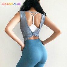 Colorvalue Sexy Back Kink Athletic Fitness Crop Tops Women Breathable Slim Fit Gym Workout Training Vest Plain Sport Tank Tops недорого