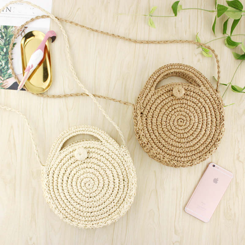 Crossbody Shoulder handbags mini round vintage 2018 Straw Beach Bag for women leather men tote messenger Braided woven woman man