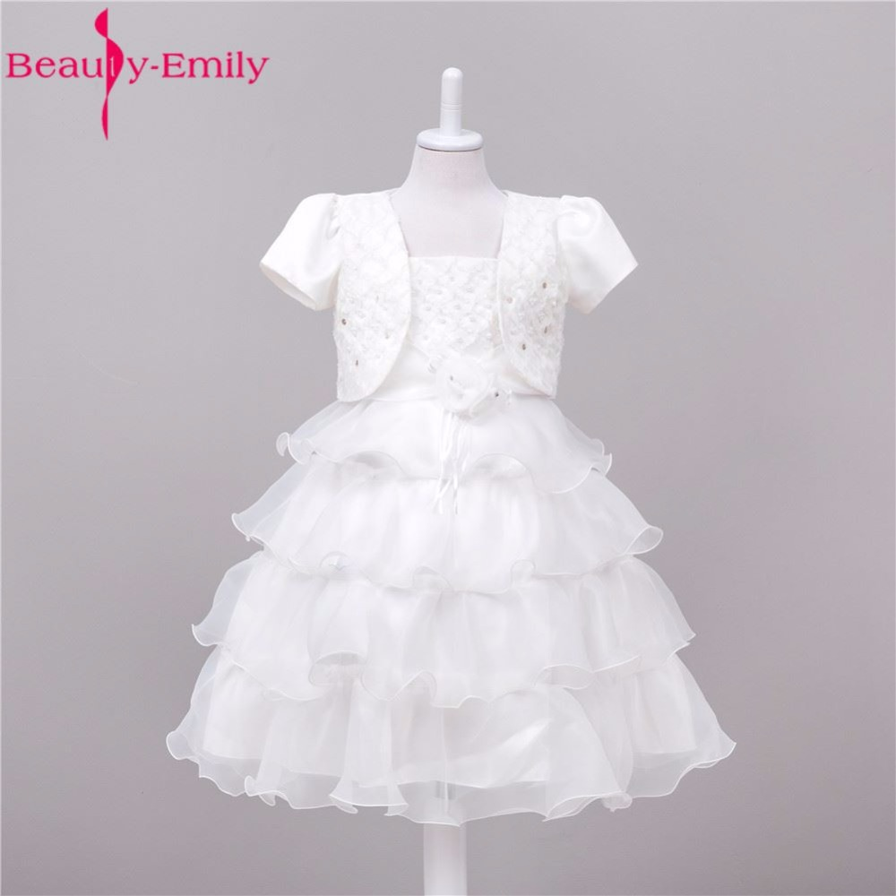 Beauty-Emily Pink White Chiffon   Flower     Girl     Dresses   2017 Ball Gown Princess Ceremony Fomal Occasion Party Prom   Dresses