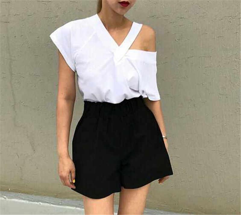 2019 夏の黒 v ネックスリング半袖 Tシャツ女性の新韓国スプライスセクシーなファッション Tシャツ野生白大サイズ Tシャツ
